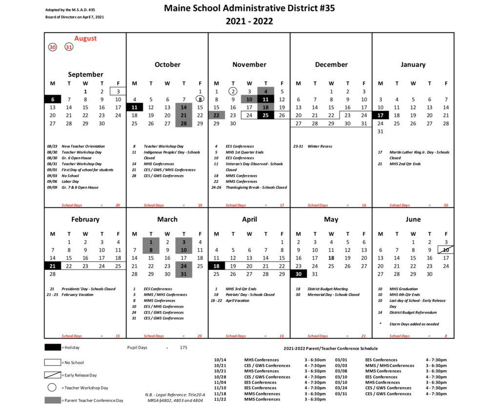 Marshwood Calendar for 2021-2022